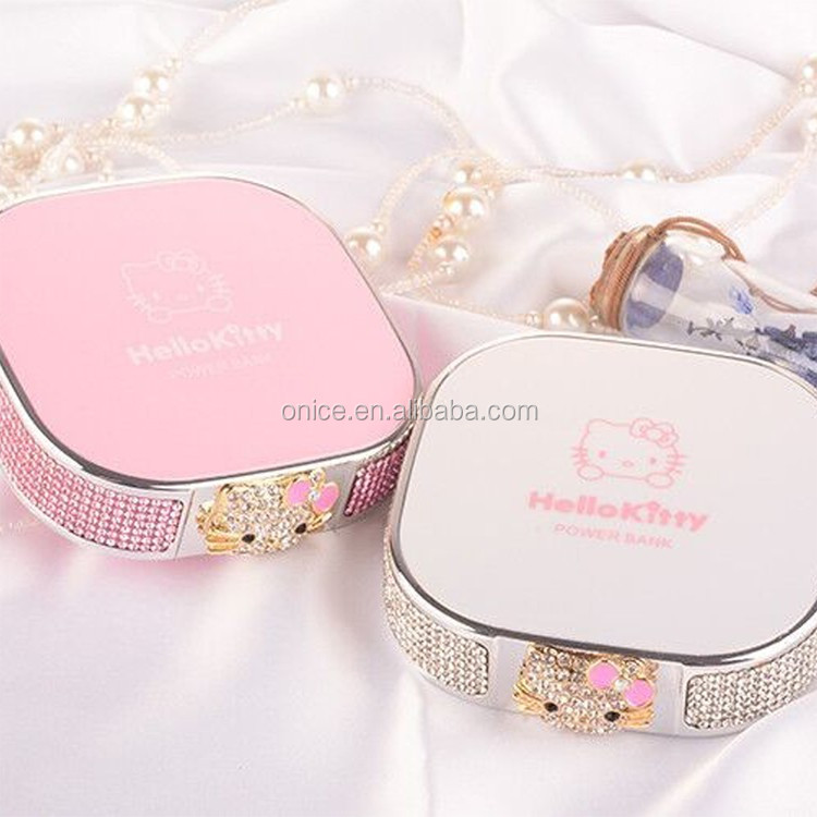 Kawaii diamond portable battery charger cute hello kitty power bank universal DC 5V 12000mah