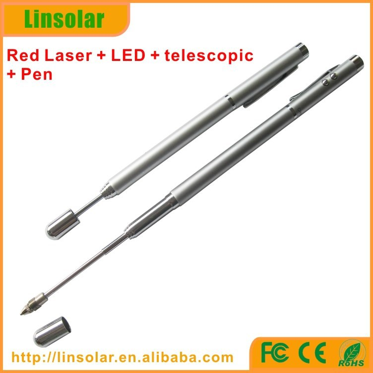 Silver Color Telescopic laser pointer, extended laser pointer pen