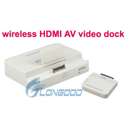 Wireless HDMI or AV Video Docking Wireless Audio Transmitter for iPhone 4/4S/iPad 2/iPad 3/iTouch