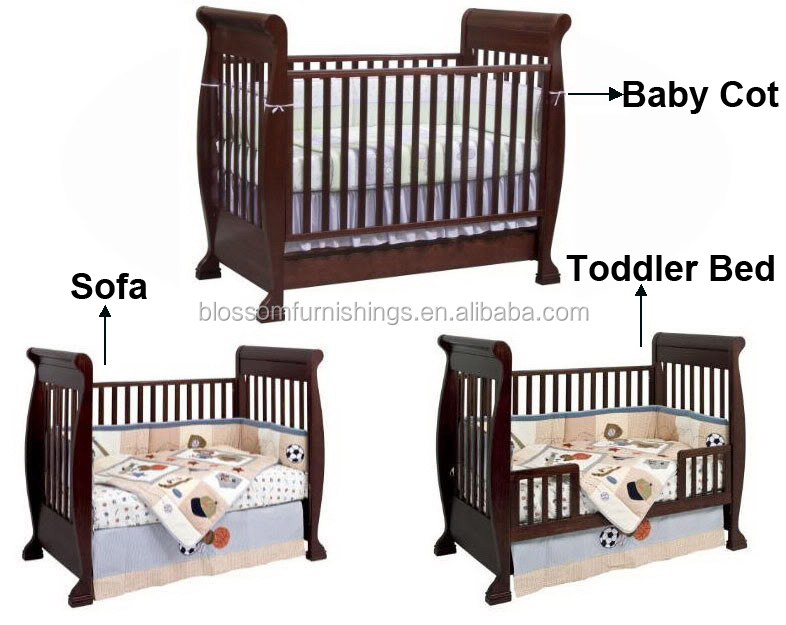 Sleigh Pine Wood Baby Cot/sofa/toddler Bed