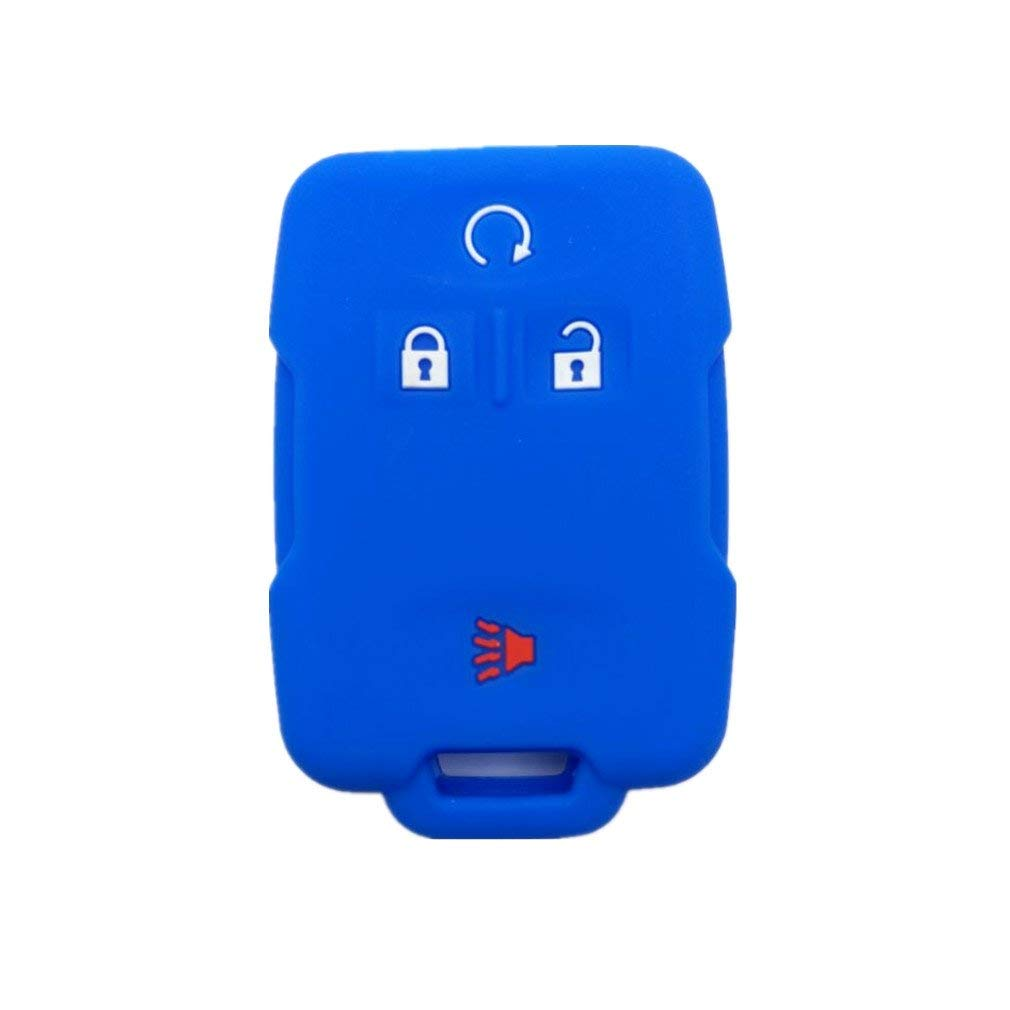 3Pcs New Black Red and Blue Silicone Protect Skin Smart 3 Buttons Remote Key Holder Fob Cover Bag Holder for 2003 2004 2005 2006 GM GMC Chevrolet Avalanche 1500 Hummer Chevy Saturn