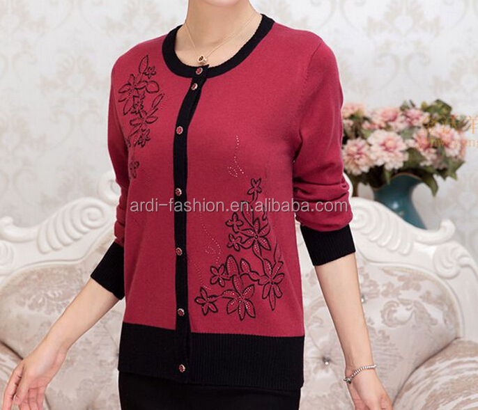 Emboriderer Sequin Beads Old Old Ladies Womens Wool Cardigan ...