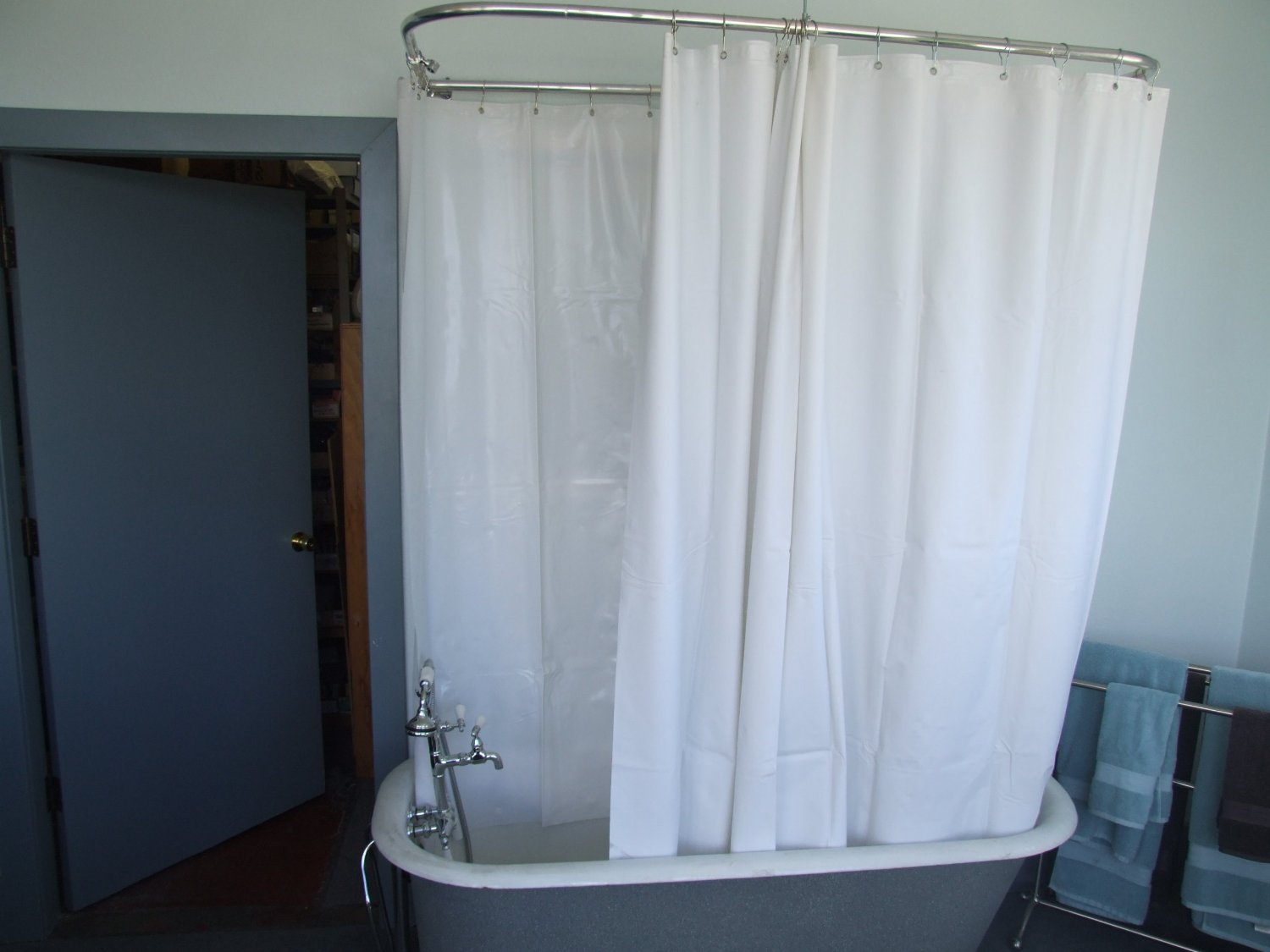 Buy Extra Wide Shower Curtain for a Clawfoot Tub/opaque Less Magnets ...