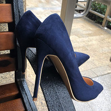 Veowalk Navy Blue Women Synthetic Suede High Heels Pointed Toe Slip on OL  Ladies Stiletto Pumps 209d8cf278e9