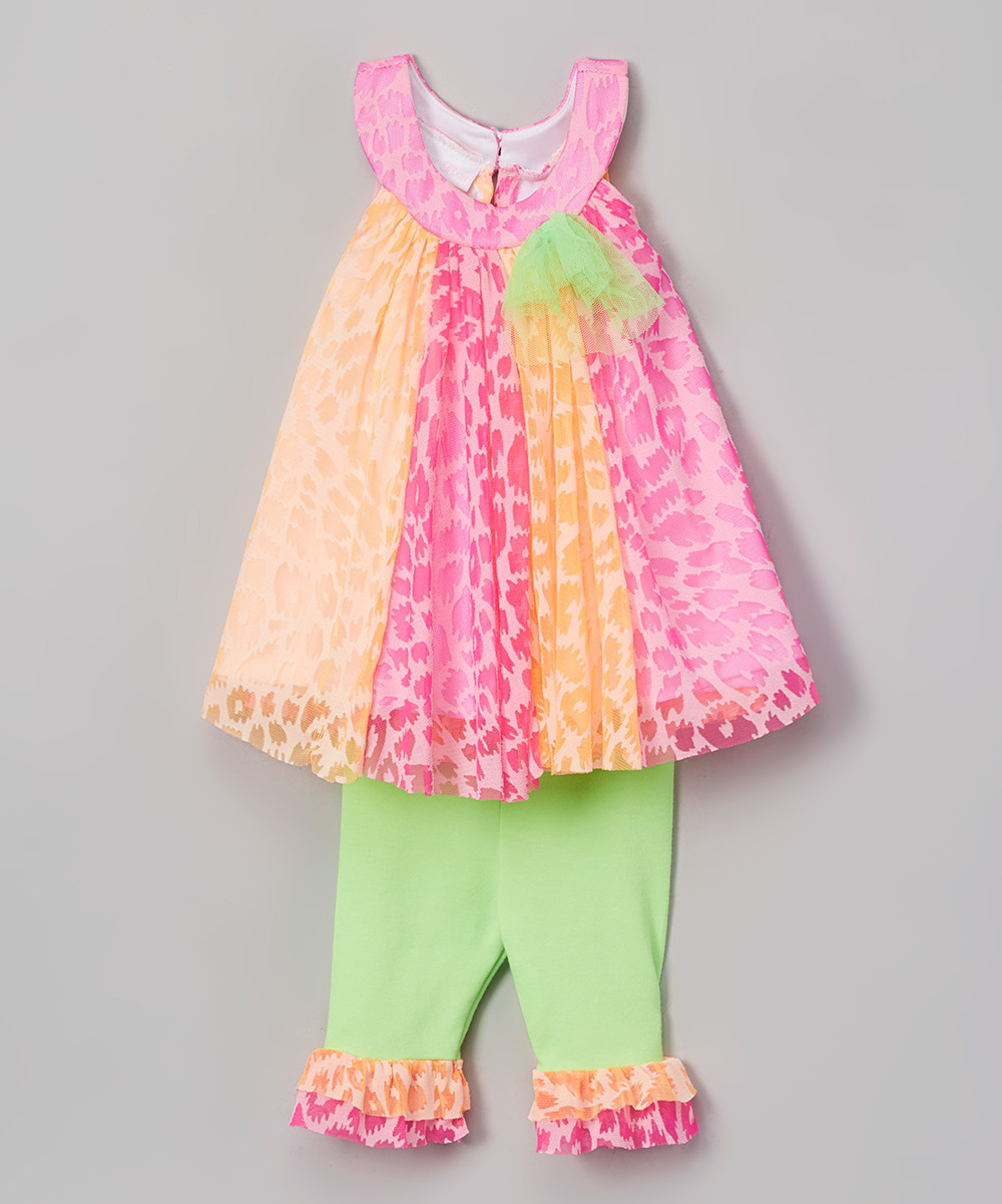 Newest Pink Color Block Dress With Leggings Girl Suits Cute Kids ...