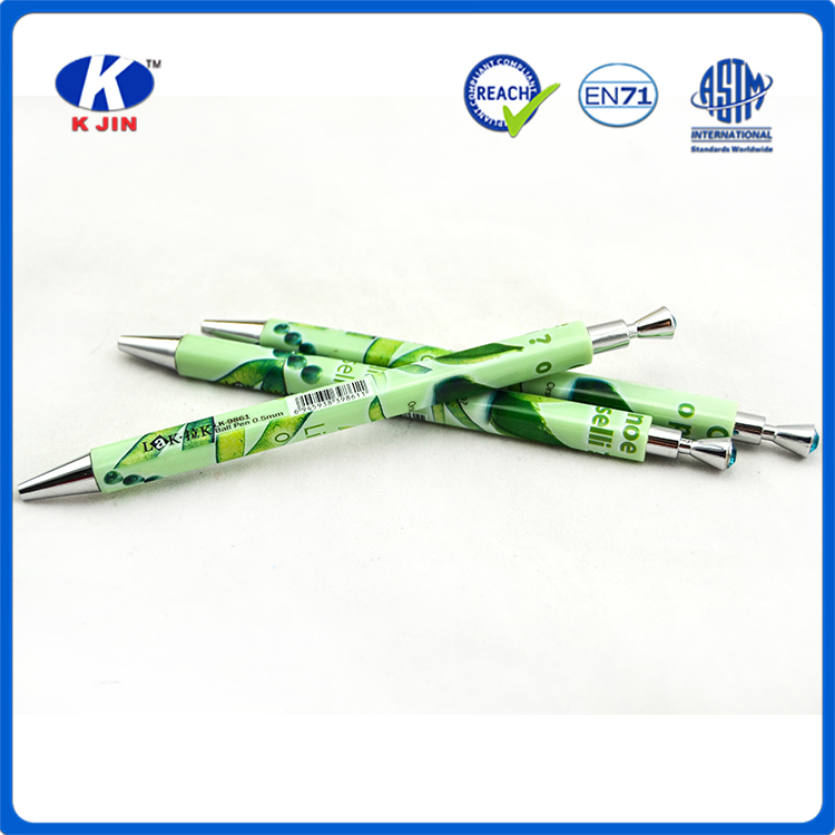 heat transfer printing green square shape ballpiont pen with diamond