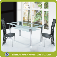 Cheap sale tempered glass stainless steel metal tube legs dining table