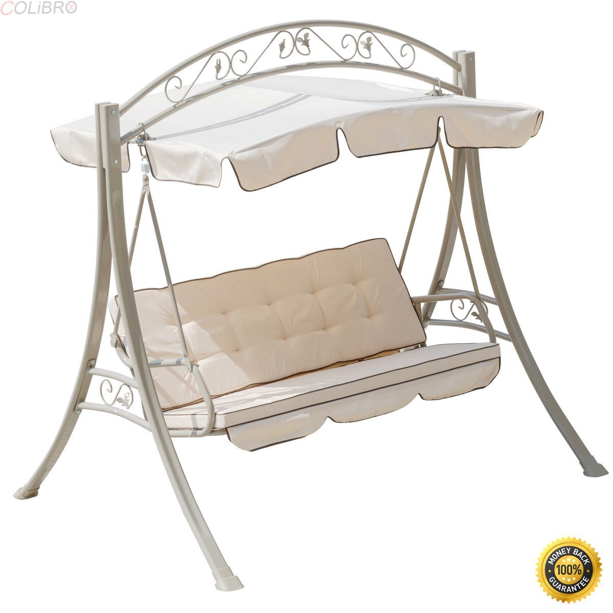 COLIBROX--3 Seats Hammock Swing Canopy Deluxe Chair Outdoor Patio Furniture Beige NEW,3 Person Larch Swing Loveseat Hammock,swing chair outdoor,hammock swing chair,lowes porch swing