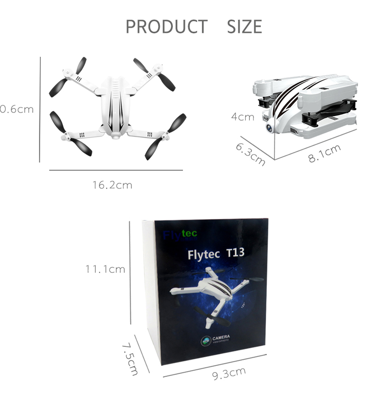 14. T13_White_Foldable_Mini_Selfie_Drone_with_720P_Wide_Angle_HD_Camera