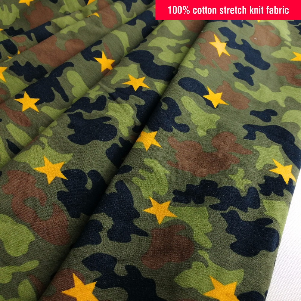 Printed Camouflage 100% Cotton Jersey Knit Fabric For Sweater