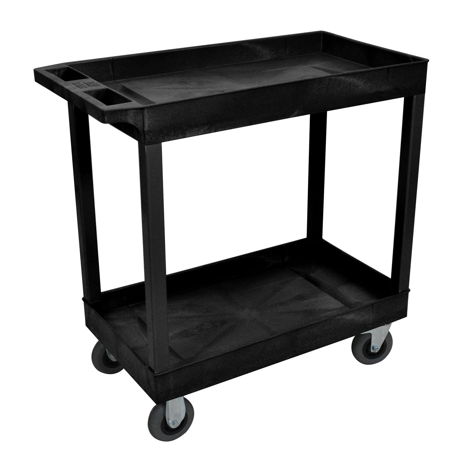 """Luxor Office Black 18"""""""" x 32"""""""" 2 Tub Cart With 5"""""""" Semi Pneumatic Casters , Automotive, tool & industrial , Office maintenance, janitorial & lunchroom , Carts , Service/utility"""