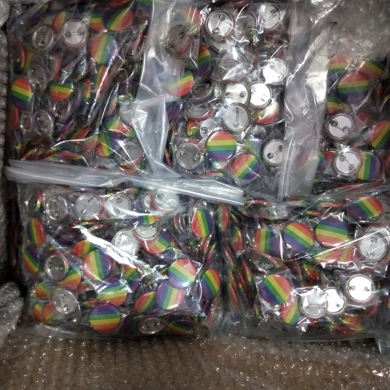 stock rainbow gay pride LGBT  tin PIN button badge