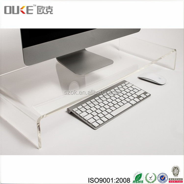 Plastic elegant acrylic computer monitor / keyboard stand for office