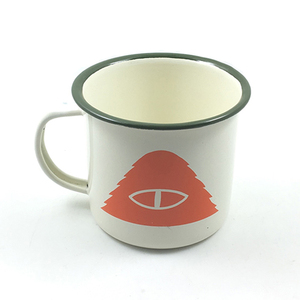 China supplier cheap logo printed custom enamel metal camping coffee tea mug cup with logo inside of mug