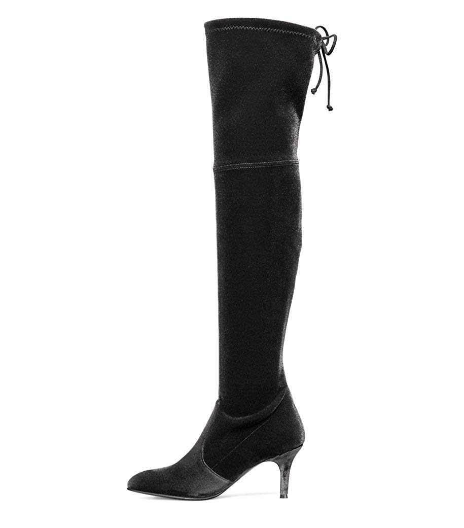 3f0bb570f Get Quotations · Kmeioo Long Thigh Boots, Women's Stiletto Mid Heels Over  The Knee Boots Pointed Toe Lace