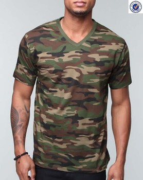 Wholesale men 39 s printing v neck camouflage t shirt buy v for Camouflage t shirt printing
