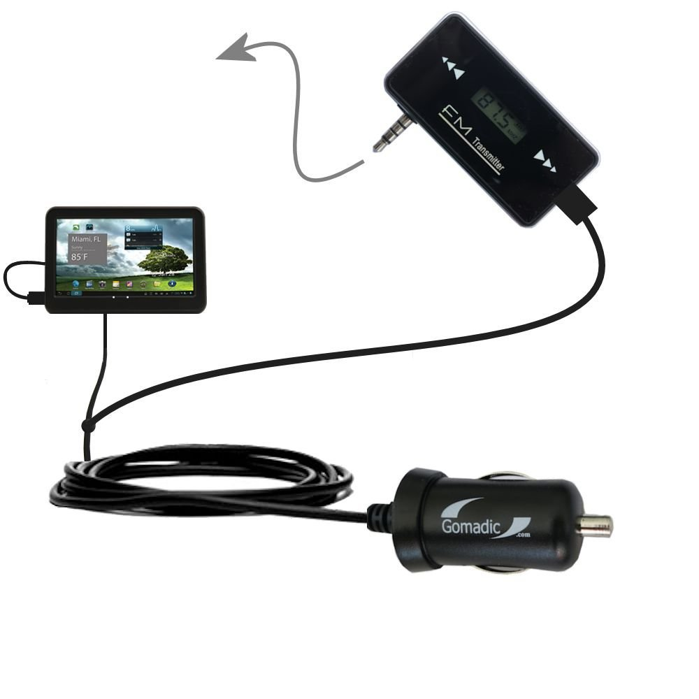 3rd Generation Powerful Audio FM Transmitter with Car Charger suitable for the Mach Speed Stealth Lite 4.3 (TR4300) - Uses Gomadic TipExchange Technology