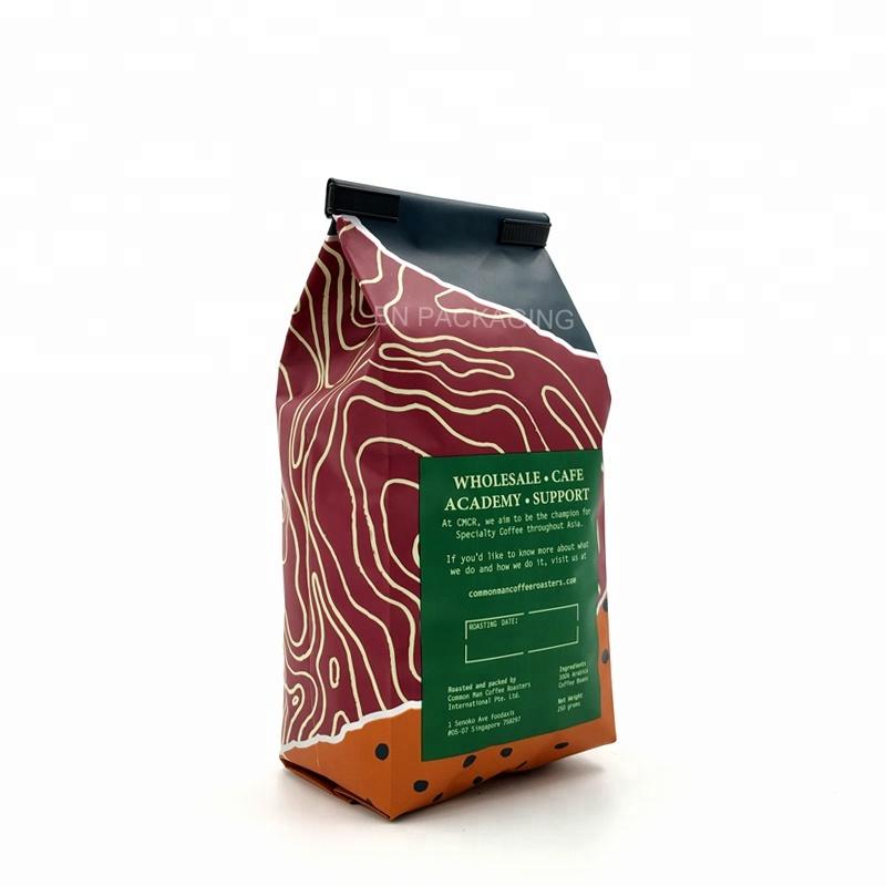 6 once 8 once 12 once personalizzato Mylar stampati di plastica cravatta di latta borsa tassello lato sacchetto di caffè sacchetto di fagioli con valvola