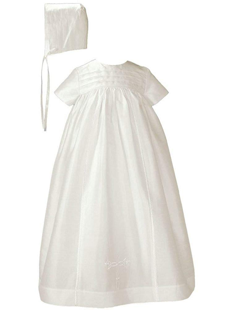 Little Things Mean A Lot Baby Girls Off White Silk Dupioni Bonnet Slip Christening Gown 0-12M