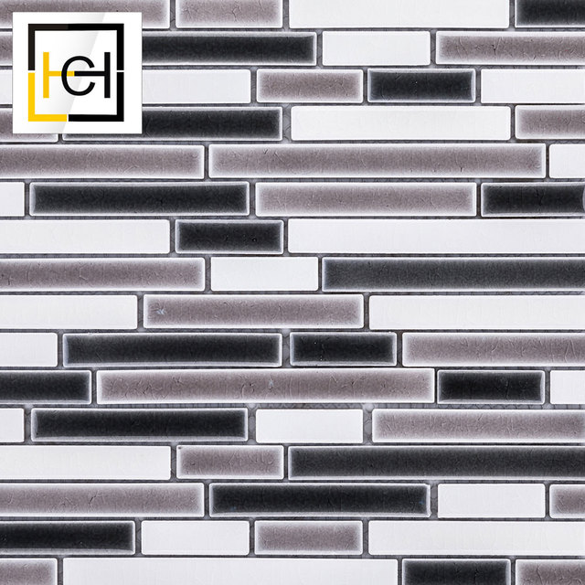 House Original Design Mosaics Strip Black Ceramic Mosaic Tiles