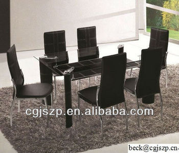 dining room table and chair metal glass black cheap dining room set