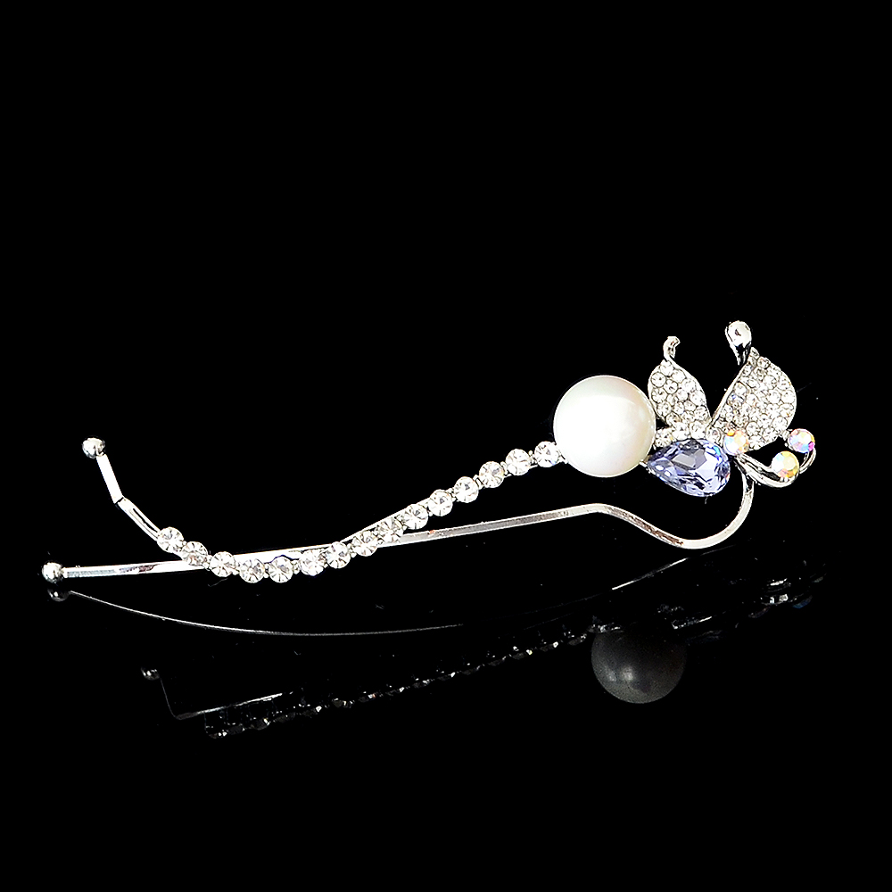 Fashion Silver Plated Butterfly Pin Brooch Jewelry Rhinestone Imitation Pearl Brooches For Scarves Corsage Sweater Collar
