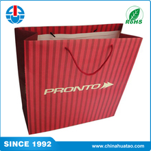 Fugang red and grey stripe design biodegradable paper bag for gift candy package