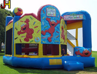 Elmo World Inflatable Bouncer House Sesame Street Jumping Castle With Slide Combo