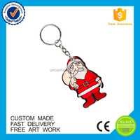 wholesale pvc Custom rubber christmas Keychain gift
