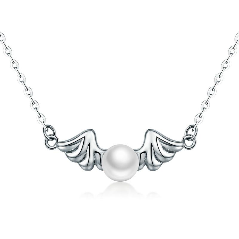 925 Sterling Silver Angel Water Pearl Pendant Jewelry Necklace for Women