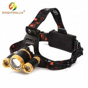 Manufacturer Supply Best Good 2* 18650 Battery Powered Three- head High Power 10W Cree led Rechargeable led Headlamp