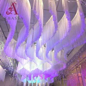 New design S-shaped ceiling drapery fabric wedding ceiling drapes for weddings stage backdrop