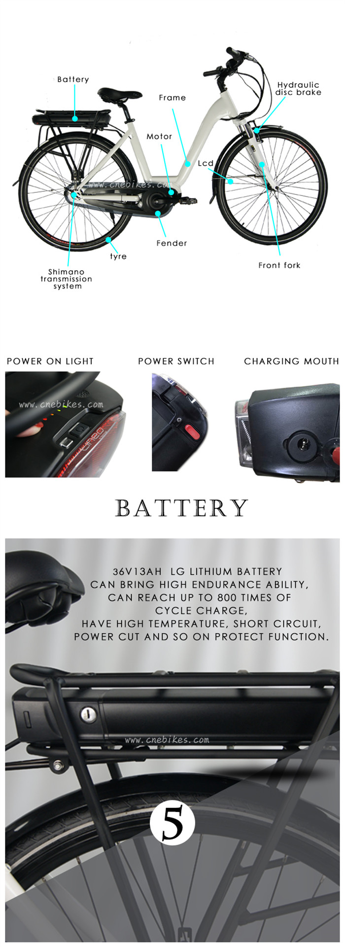36v 18650 Li-ion Battery City e-bike Rear Rack Lithium Battery