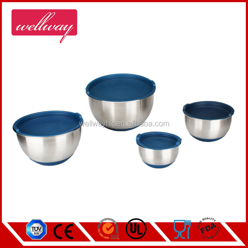 Stainless-Steel Mixing Bowls with Lids, Set of 3