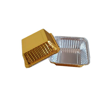 Golden color disposable aluminum foil loaf pan with lid for baking