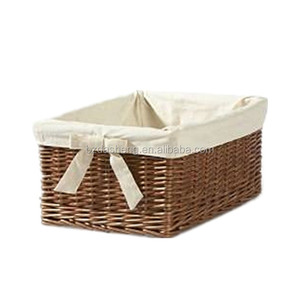 rectangular colored willow wicker storage baskets with lining