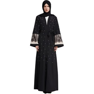 Fashion open front women kimono abaya online shopping sample stock islamic dress dubai 2018