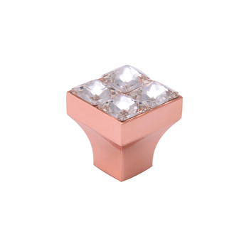 HJY Rose gold glass crystal door knobs L22mm