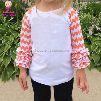 Wholesale Monogram Blanks Icing Ruffle Shirts Infant Clothes Orange