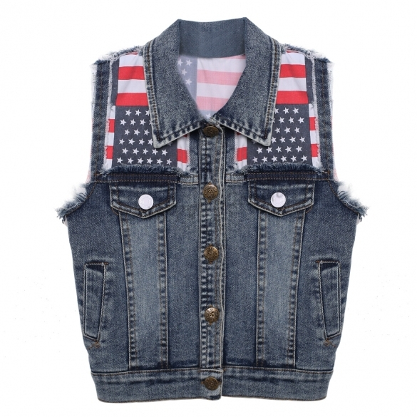 Fashion Boys Denim Vest Baby Children's Jeans Waistcoat Clothes Sleeveless Kids Autumn/Winter lag Pattern Design Vest Jacket
