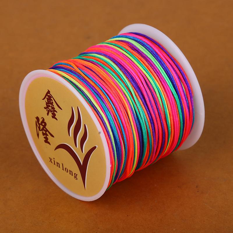 23 Colors 50m Dia 0.8mm Nylon Cord Thread Chinese Knot Macrame Cord Bracelet Braided String DIY Tassels Beading String Thread