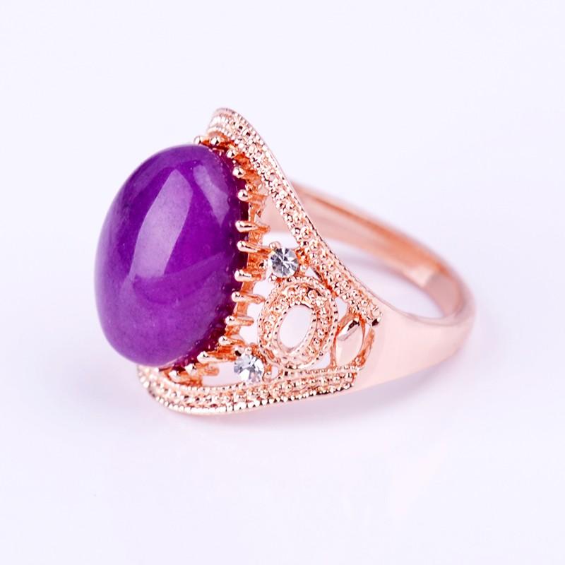 Druzy Real Purple Jade Natural Stone Wedding Bands Ring High