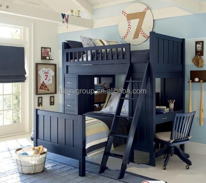 Amerikaanse landelijke stijl stapelbed met bureau hoge kwaliteit ladder voor kind houten - Stapelbed met geintegreerd bureau ...