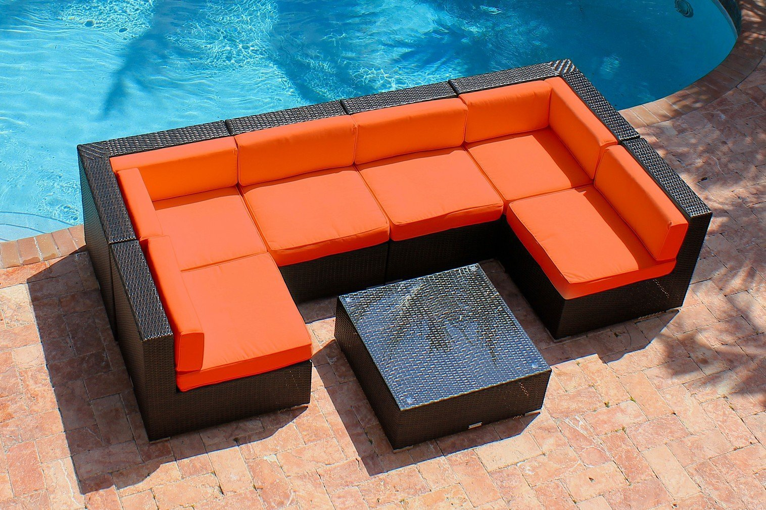 AKOYA Wicker Collection - 7 Piece Outdoor Patio Furniture Modern Sofa Couch Sectional Modular Set, Orange