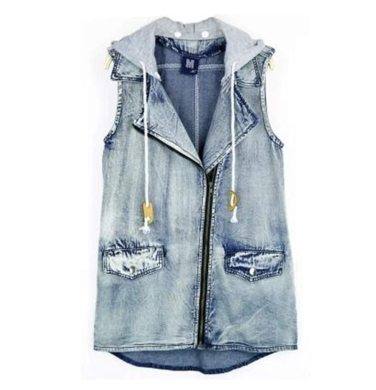 acac42404669d Get Quotations · veste Denim Vest Hooded Jeans Long Summer Jacket Zipper Jacket  Sleeveless Slim Denim Jacket