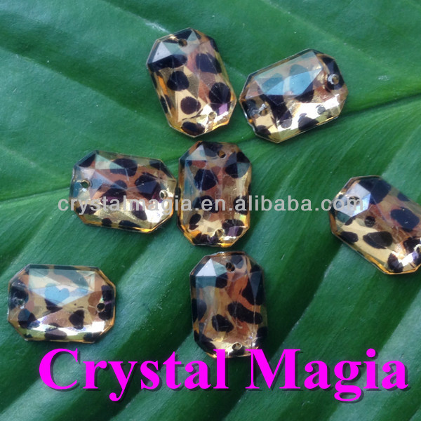 rectangle leopard print flat back acrylic rhinestone beads sew on