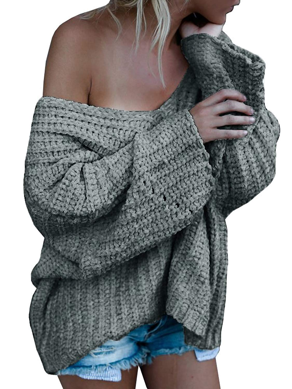 Womens Off Shoulder V Neck Fall Chunky Knit Oversized Pullover Long Sleeve Sweaters
