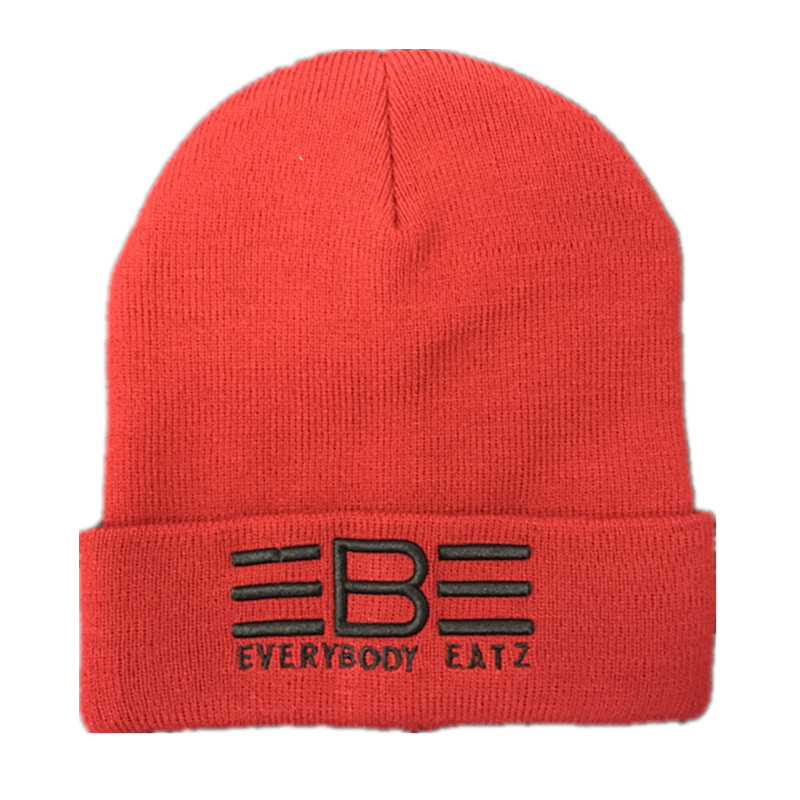 100% Acrylic beanie custom embroidery pattern knitted winter hats