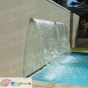 L90cm garden fountains stainless steel water blade landscape multi colors led pond water cascade spillway waterfall