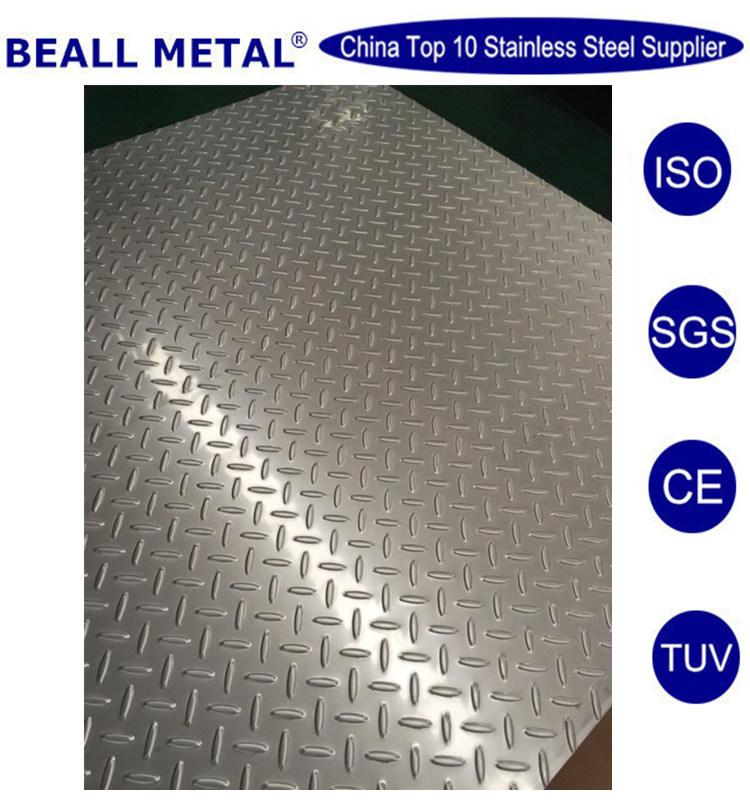 304 ss checkered embossed tear daimond shape metal flooring sheets